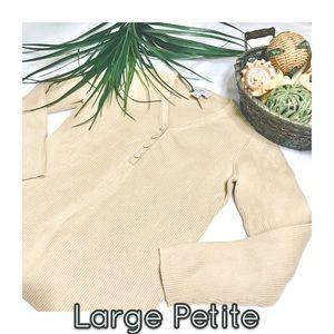 Ann Taylor LOFT tan long sleeve vneck petite top
